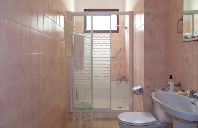 Badezimmer mit großer Dusche und WC