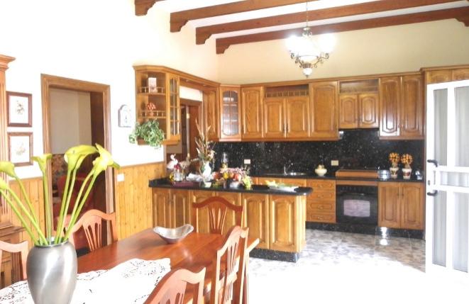 Stilvolle und voll ausgestattete Küche an Wohn- und Esszimmer im Erdgeschoss