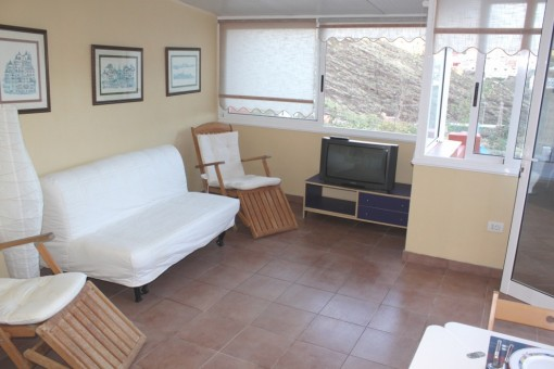 Schön gestaltetes Wohnzimmer der zweiten Ferienwohnung