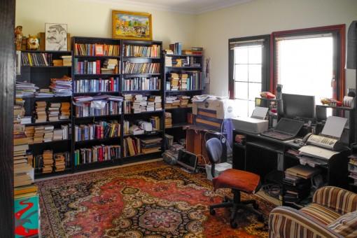 Großes Büro mit Regalen