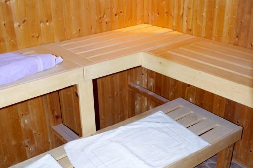 Innenbereich der Sauna im Gestehaus