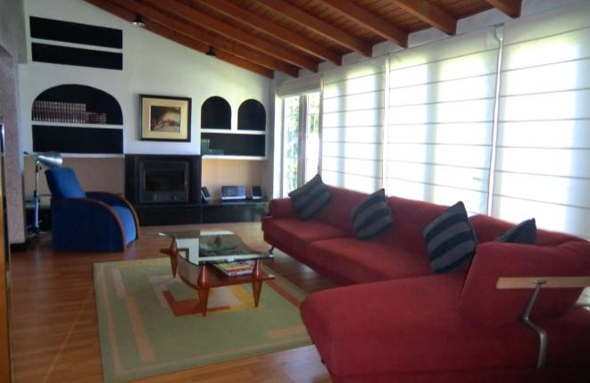 Wohnbereich mit hoher Decke, Kamin und breiter Glasfensterfront