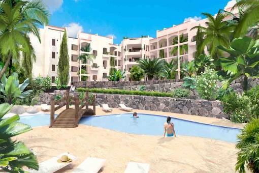 Wohnkomplex mit Gemeinschaftspool in Palm Mar