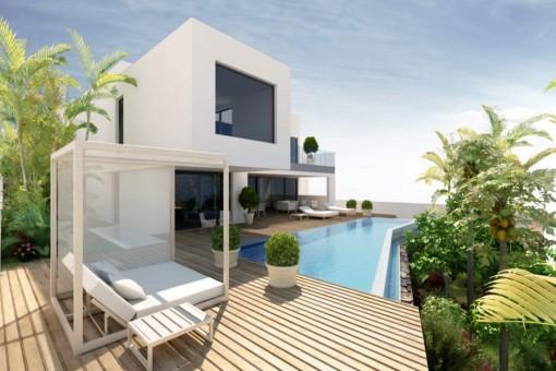 Hochwertiges Villaprojekt mit wünderschönem Rundumblick