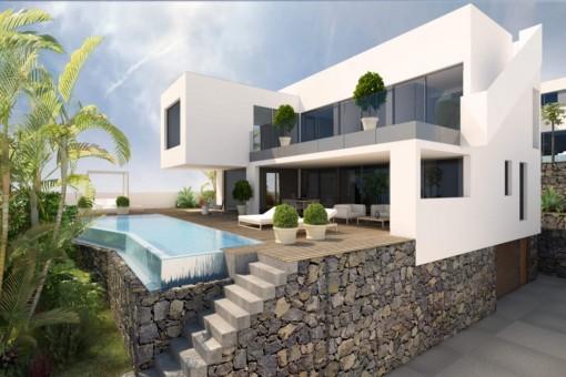 Luxuriöses Villaprojekt mit großem Pool und Meerblick