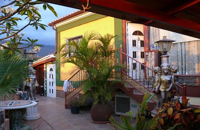 Der Eingangsbereich mit Palmen