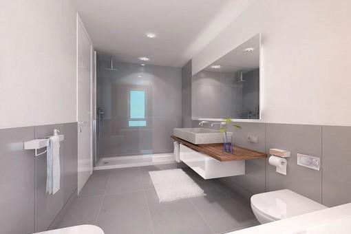 Ein weiteres Badezimmer mit Regendusche