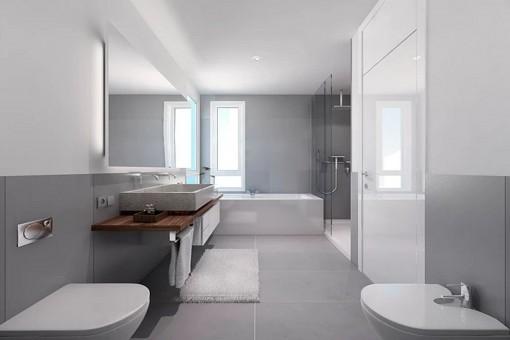 Puristisches Badezimmer mit Badewanne