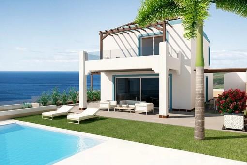 Alternative Ansicht der modernen Villa