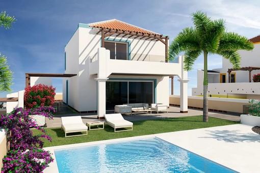 Luxus-Villa in San Eugenio Alto mit herrlichem Blick auf das Meer und die Insel La Gomera