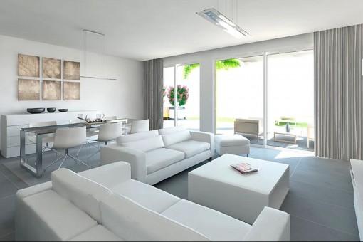 Wohnbereich mit direktem Zugang zur Terrasse
