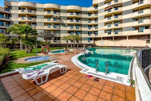 Duplex Penthousewohnung mit Pool und Meerblick im Cape Salema in Palm Mar