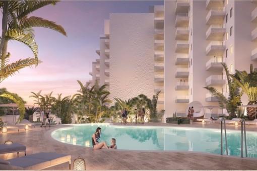 Luxuriöse 1,2 und 3 Schlafzimmer Apartments in neuer Residez in Playa Paraiso