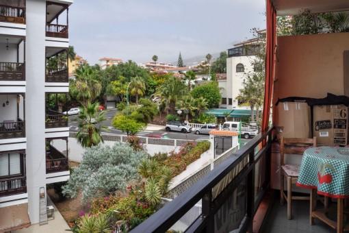 Blick vom Balkon auf die Umgebung
