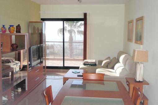 Wohn / Esszimmer mit Zugang zur unteren Terrasse
