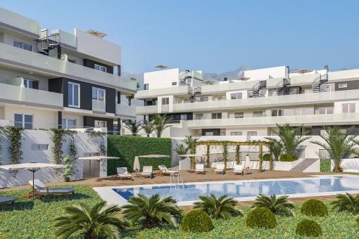 Luxusapartment-Neubau mit 3 Schlafzimmern, Pool und Tiefgarage in Strandlage im Süden von Teneriffa