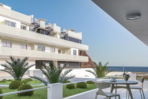 Private Terrasse mit herrlichen Meerblick