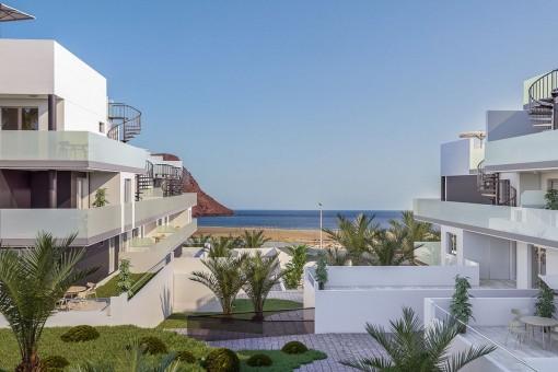 Luxusapartment-Neubau mit einem Schlafzimmer, Pool und Tiefgarage in direkter Strandlage im Süden von Teneriffa