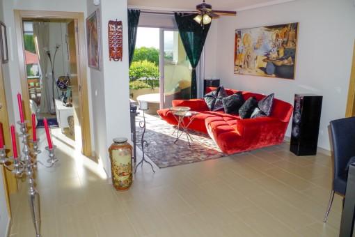 luxus apartment mit terrasse garten und pool in erster meereslinie am la tejita strand im s den. Black Bedroom Furniture Sets. Home Design Ideas