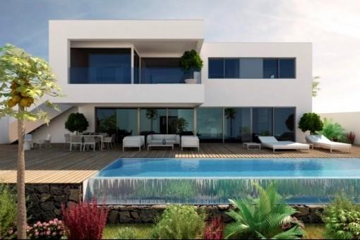 Terrasse mit schönem Pool und Garten