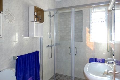 Badezimmer mit Tageslicht und Dusche